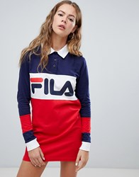 Fila Long Sleeve Rugby Dress In Colour Block Multi