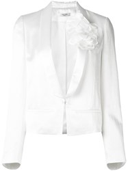 Lanvin Floral Applique Jacket Women Silk Acetate Cupro Glass 40 White