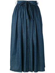 Jucca Belted Pleated Skirt Women Cotton 44 Blue