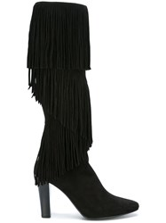 Saint Laurent 'Lily' Fringe Boots Black