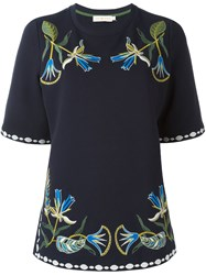 Tory Burch 'Ainsley' Tunic Top Blue