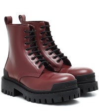 Balenciaga Strike Leather Ankle Boots Red