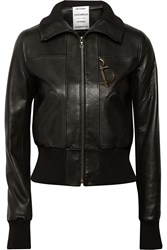 Anthony Vaccarello Embellished Leather Bomber Jacket Black