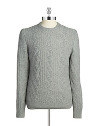 Black Brown Cableknit Cashmere Sweater Medium Grey