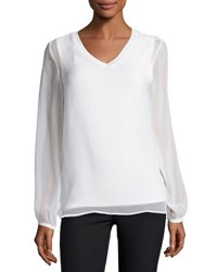 Neiman Marcus Gathered Long Sleeve V Neck Top White