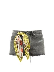 Off White Printed Scarf Raw Edge Shorts Grey