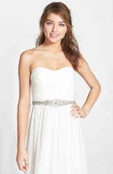 Nina 'Poppy' Crystal Medallion Belt Ivory Organza