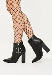 Missguided Black Ring Detail Pointed Toe Heeled Boots