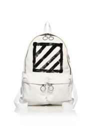 Off White Brushed Diagonals Backpack White Black