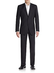 Saks Fifth Avenue Trim Fit Tonal Herringbone Wool Suit Black