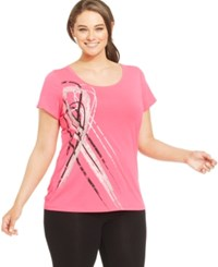 Ideology Plus Size Breast Cancer Awareness Ribbons Tee Molten Pink