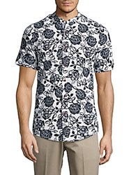Report Collection Floral Print Slim Fit Shirt White