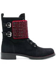 Loriblu Studded Boots Suede Rubber Leather Velvet Black