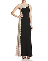 Avery G Crochet Lace Detail Gown Black Gold
