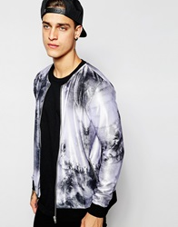 Asos Bomber Jacket In Polytricot With Marble Print Black