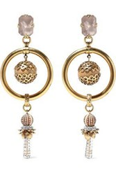 Elizabeth Cole 24 Karat Gold Plated Crystal And Bead Earrings Gold