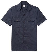 Brunello Cucinelli Slim Fit Camp Collar Cotton Western Shirt Navy
