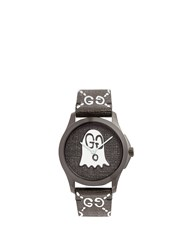 Gucci Gg Ghost Textured Leather Watch Black Multi