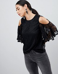 Ax Paris Lace Cold Shoulder Top Black