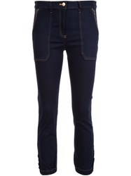 Veronica Beard Cropped Capri Trousers Blue