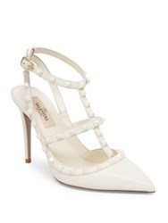 Valentino Rockstud Leather Slingback Pumps White