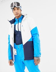 Protest Coffee Snow Jacket In White Blue
