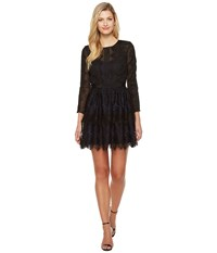 Adelyn Rae Suzanne Woven Lace Long Sleeve Fit And Flare Black Women's Dress
