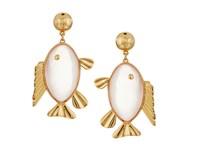 Tory Burch Fish Pendant Earrings Pink Quartz Vintage Gold Earring