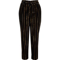 River Island Womens Black Metallic Stripe Tied Tapered Pants