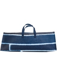 Luisa Cevese Riedizioni Striped Rectangular Tote Blue