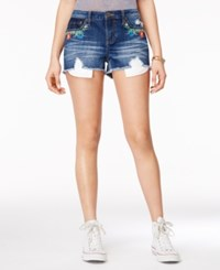 Rampage Juniors' Embroidered Denim Shorts Acacla