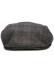 Brioni Checked Flat Cap Black