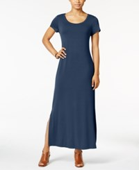 Style And Co Petite Short Sleeve Maxi Dress Only At Macy's New Uniform Blue