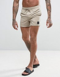 Asos Swim Shorts In Stone With Rubber Triangle Patch Short Length Stone Beige