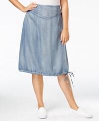 Standards And Practices Trendy Plus Size Denim A Line Skirt Crossover