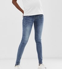 Mamalicious Skinny Jeans With Bump Band Blue