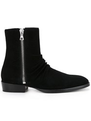 Amiri Side Zip Boots Men Calf Suede 10 Black