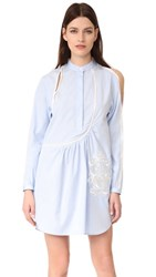 3.1 Phillip Lim Victoriana Dress With Crest Embroidery Oxford Blue