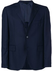 Massimo Piombo Mp Textured Single Breasted Blazer Blue