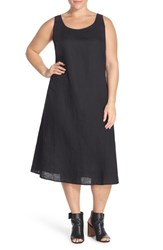 Plus Size Women's Eileen Fisher Handkerchief Linen Calf Length Tank Dress Black