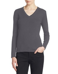 Lord And Taylor Plus Merino Wool Basic V Neck Sweater Graphite Heather
