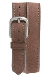 John Varvatos Men's Star Usa Suede Belt Chocolate