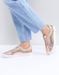 Asos Design Detox Lace Up Trainers Nude Metallic Gold
