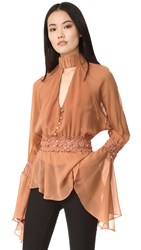 Nicholas Georgette Batwing Top Clay