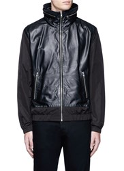 Mcq By Alexander Mcqueen Nylon Sleeve Leather Jacket Black