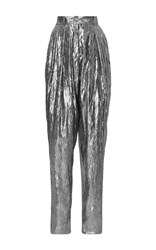 Michael Kors Collection Pleated Crushed Lame Trouser Silver