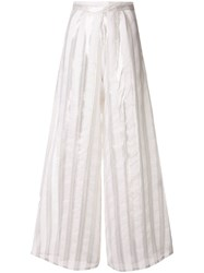 Taller Marmo Striped Wide Leg Trousers White
