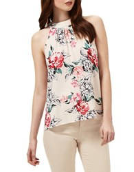 Miss Selfridge High Neck Floral Print Sleeveless Top Multi