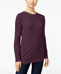 Jm Collection Crew Neck Button Cuff Sweater Only At Macy's Maroon Dahlia