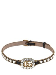 Gucci Gg Marmont Crystal Leather Choker Black